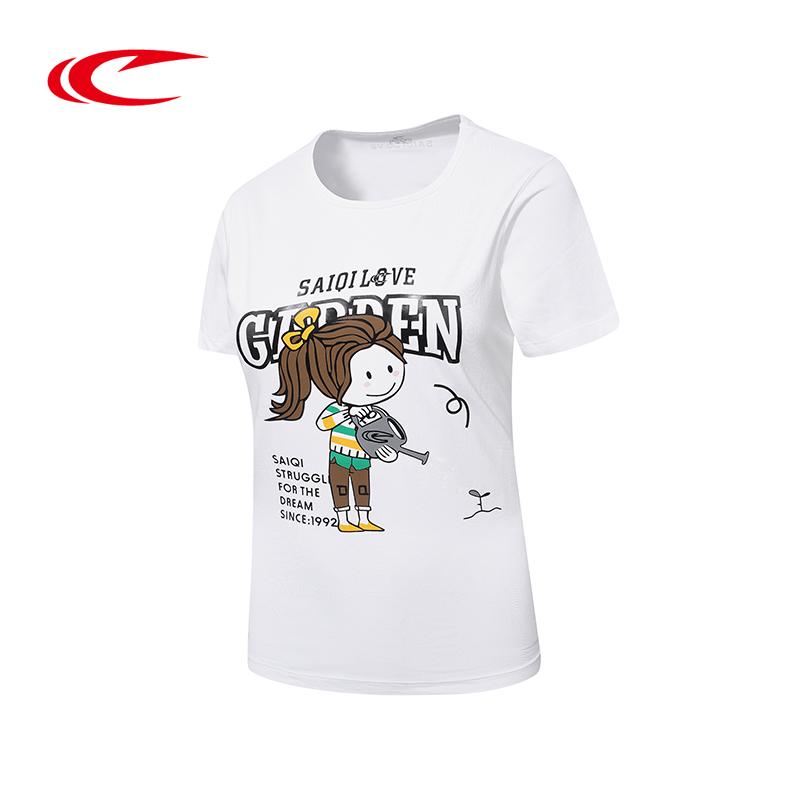 赛琪女士运动短袖T恤 夏季新款女式吸汗透气半袖圆领体恤衫上衣116448