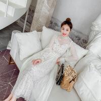 2019新款女装春雪纺法国小众很仙的连衣裙过膝秋冬两件套洋气裙子 白色