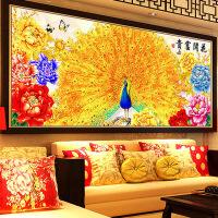 家居家居5D钻石画满钻客厅大幅花开富贵贴钻十字绣孔雀粘点砖石秀新款卧室 图片色