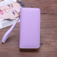 钱包女长款钱夹女手包韩版简约时尚手机包大容量手拿包 紫色