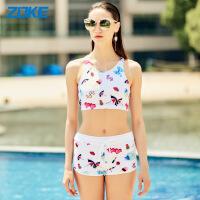 zoke温泉泳衣女分体平角裤高腰复古小香风韩国少女背心显瘦游泳衣