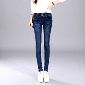 Freefeel2018春季新款女装学生铅笔弹力修身显瘦高腰牛仔长裤女式小脚裤子