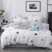 北欧简约全棉ins床上四件套纯棉被套1.8m网红床单被子三件套床笠 夏末 三件套床单款-1.2m(4英寸)【适合160