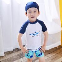 儿童游泳衣男童宝宝2-3-4-5-6-7-8-9岁10男孩小学生平角泳裤套装 天蓝色