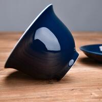盖碗三才盖碗新中式艳蓝色陶瓷功夫手工茶具