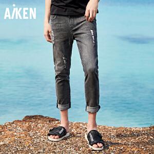 Aiken爱肯2018夏季男士破洞牛仔裤直筒韩版潮流小脚黑色裤子男