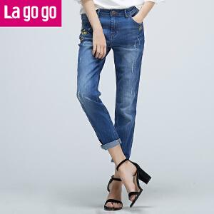 【清仓3折价79.8】Lagogo/拉谷谷2019年秋新款贴布绣磨破设计小脚牛仔裤