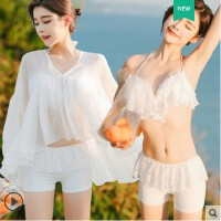 分体泳衣女三件套韩国比基尼裙式遮肚显瘦小胸聚拢性感温泉游泳衣