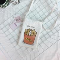 新款夏天小包包文艺帆布袋迷你斜跨小布包手机零钱包收纳小方包女