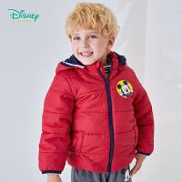 迪士尼Disney童装 米奇卡通印染棉服男童可拆带帽外套冬季新品中长款保暖外出服194S1135