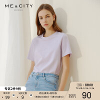 【2件1.5折价:20.9,可叠券】纯棉MECITY女潮时尚圆领白色打底衫T恤