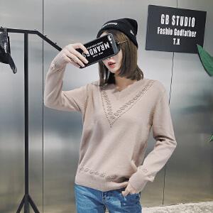 2018春季新款女装V领弹力针织套头打底衫显瘦百搭长袖毛衣上衣潮