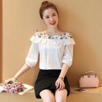 春夏装韩版宽松七分袖T恤花朵荷叶边一字领衬衫女露肩上衣