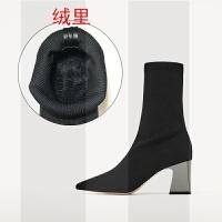 小跟短靴女秋冬新款针织弹力靴中筒网红瘦瘦靴粗跟高跟尖头袜子靴SN6439