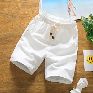 夏季情侣短裤男日系亚麻五分裤棉麻短裤男士轻薄休闲裤大码