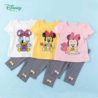 迪士尼Disney童装 女童套装卡通印花纯棉短袖色织条纹打底裤两件套2020年夏季新品中小童衣服