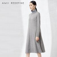 [AMII东方极简] JII AMII2016冬季新款女装文艺高领针织中长裙长袖毛衣连衣裙女