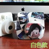 拍立得mini8mini9相机包 相机套合身PU皮套猪头包 白色 蛇纹皮包