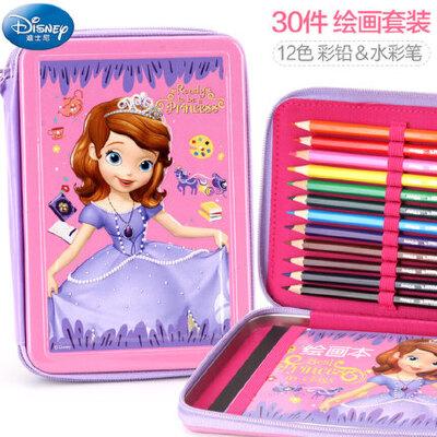 迪士尼儿童绘画套装礼盒 小学生水彩笔文具美术用品彩铅画画工具 文具丰富多样