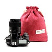 佳能760D 80D单反相机内胆包 A7II相机包D7100绒布袋防水减震厚包 红色加厚版 大号