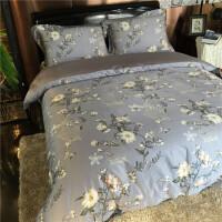 欧美 100支绫罗锦缎四件套高端床品套件纯棉婚庆双人床上用品 晨风