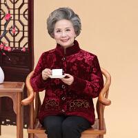 2018秋冬新款中老年女装老太太加绒加厚棉衣服外套中老年人女装冬季棉袄奶奶唐装上衣