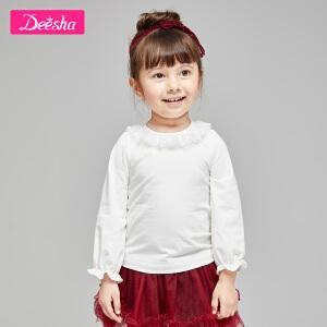 【99元3件专区】笛莎童装女童长袖T恤2019春季新款小童纯色蕾丝花瓣领上衣套头衫