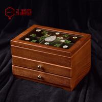 木质首饰盒欧式珠宝盒手饰品项链收纳盒大容量复古中式多层