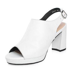 Tata/他她2018春专柜同款牛皮简约粗高跟女皮凉鞋2A001AL8