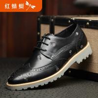 红蜻蜓男鞋春秋新款皮鞋商务休闲鞋真皮正品布洛克单鞋