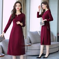2018秋季新款女装韩版中长款时尚打底裙女气质收腰气质长袖连衣裙