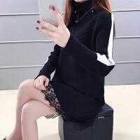 宽松针织连衣裙韩版中长款毛衣加厚女冬新款拼接蕾丝加绒打底衫女