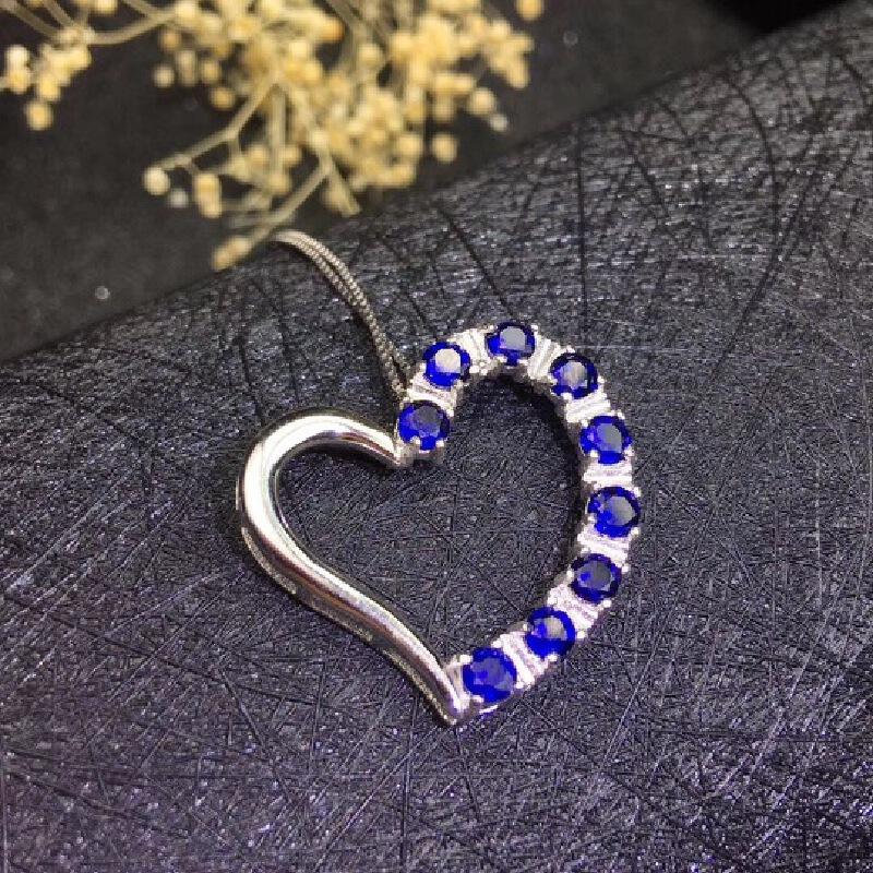 天然蓝宝石心形吊坠,个性款!