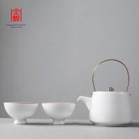 一壶二杯提梁壶便携旅行陶瓷功夫茶具套装两茶杯一茶壶快客