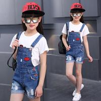 女童夏装背带裤新款儿童韩版短裤大童夏季时尚潮牛仔裤