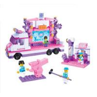 小鲁班积木 粉色梦想星光舞台车儿童益智拼装玩具汽车组装模型