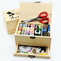 家用实木针线盒套装 手缝缝纫线盒 手工针线工具收纳盒
