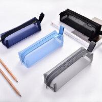 得力尼龙网纱笔袋女大容量多功能小学生铅笔袋男高中生笔袋文具盒