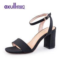 依思q夏季新款方头时尚简约一字扣后空粗跟高跟凉鞋女鞋