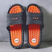 家居拖鞋男夏季时尚防滑外穿潮男士室内浴室个性沙滩鞋韩版凉拖鞋 黑橘 此款偏小1-2码