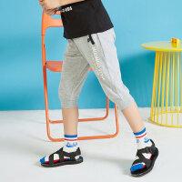【1件3折到手价:31.5】moomoo童装男童短裤新款夏季时尚字母撞色宽松儿童七分裤子棉