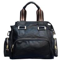 2018新款韩版时尚休闲软皮女包织带复古手提包简约百搭单肩斜挎包SN6088 黑色