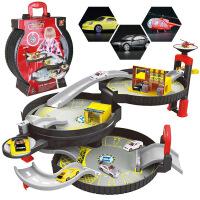 儿童DIY拼装手提轮胎收纳盒 停车场玩具 三层合金小车飞机过家家 三层轮胎停车场