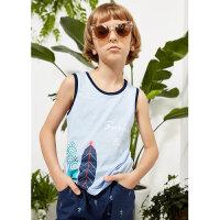 【1件3折到手价:22.5,9月17日0点开抢】米喜迪mecity童装夏装新款男童t恤趣味印花针织无袖恤