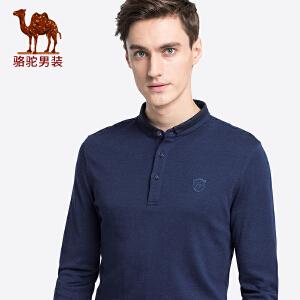 骆驼男装 2018秋季新款青年翻领长袖t恤衫休闲舒适花纱Polo上衣男