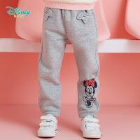 迪士尼Disney童装 女童三层夹棉保暖长裤冬季新品女宝宝米妮印花棉裤 花灰194K925