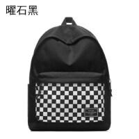 简约双肩包女高中学生书包女韩版旅行包时尚校园背包撞色男运动包