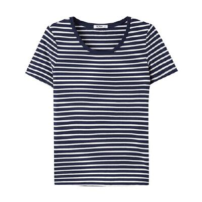 美特斯邦威条纹短袖T恤女夏装纯棉半袖衫打底上衣学生百搭韩版