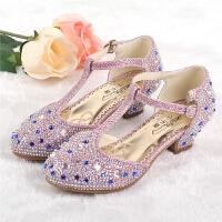 夏女童高跟凉鞋韩版包头儿童凉鞋水晶公主鞋舞蹈鞋鱼嘴鞋