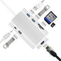 拓展坞Type-c笔记本扩展坞USB-C转换器转接头HDMI集线器USB读卡器联想ThinkPad华 银色【HDMI+